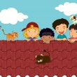 Stock Vector: Kids on roof