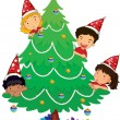 Stock Vector: Kids at christmas