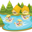 Fun in the lake — Stock Vector