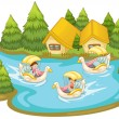 Royalty-Free Stock Vector Image: Fun in the lake