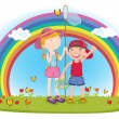 Royalty-Free Stock Vector Image: Kids in garden