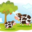 2 cows — Stock Vector