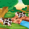 Stock Vector: 3 cows