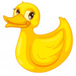 Clipart style cartoon of duck — Stock Vector