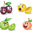Stock Vector: Fruit faces