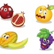 Fruit faces — Stock Vector