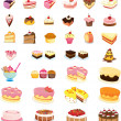 Mixed cakes and desserts — Stock Vector