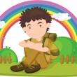 Stock Vector: Illustration of boy sitting on rainbow backgound