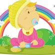 Illustration of kid on rainbow background — Stok Vektör