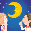 Kids at night with moon — Stock Vector