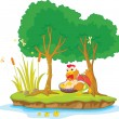 Illustration of hen and two tree on island — Stock Vector