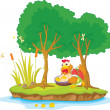 Stock Vector: Illustration of hen and two tree on island