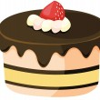 Stock Vector: Clipart style cartoon of cake