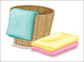 Bucket and towels — Stock Vector