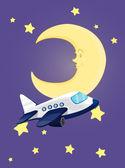 Moon at night — Stock Vector