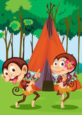 Monkeys camping — Stock Vector