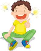Ilustración de un niño en blanco — Vector de stock