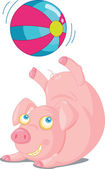 Illustration of a cartoon pig on white — Stock Vector