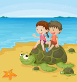 Kids on turtles — Stock Vector