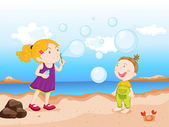 Kids at beach — Stock Vector