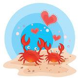 Crabs on beach — Stock Vector