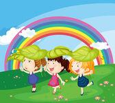 Kids with rainbow — Stock Vector