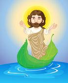 Jesus floating — Stock Vector