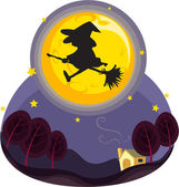 Witch flying — Stock Vector