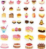 μικτή κέικ και γλυκά — 图库矢量图片