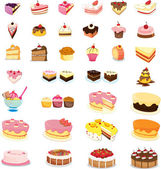 Mixed cakes and desserts — 图库矢量图片