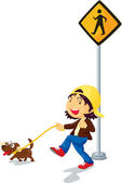 Illustration of kid near the signal — Stock Vector