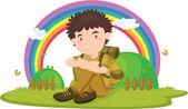Illustration of boy sitting on rainbow backgound — Stock Vector