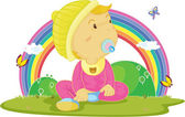 Illustration of kid on rainbow background — Stock Vector