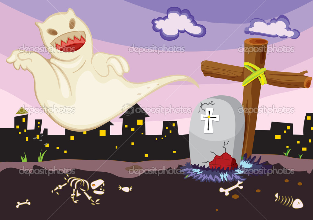Illustration of ghost in a cemetery — Stock Vector #9993930