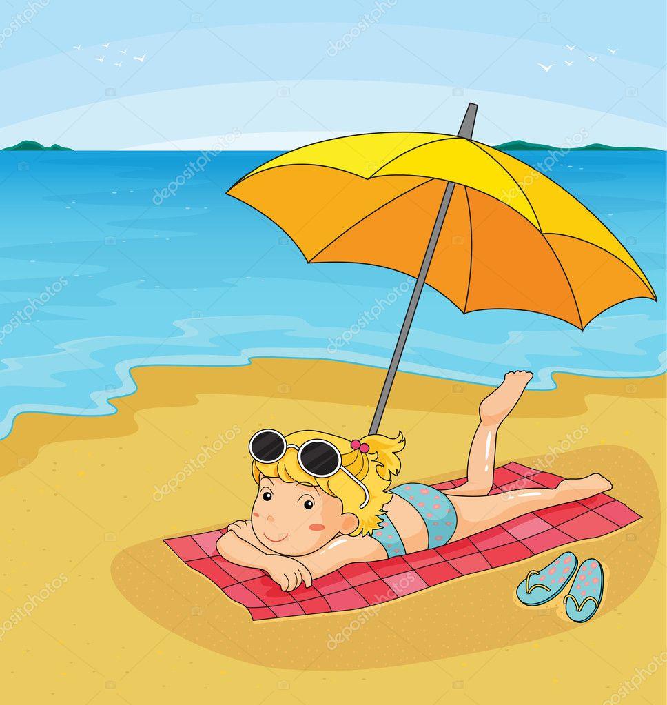 На пляже рисунок
