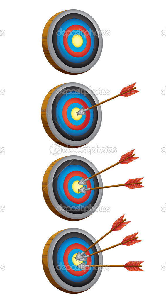 Illustration of arrow target game on a whote baackground — Stock Vector #9995010