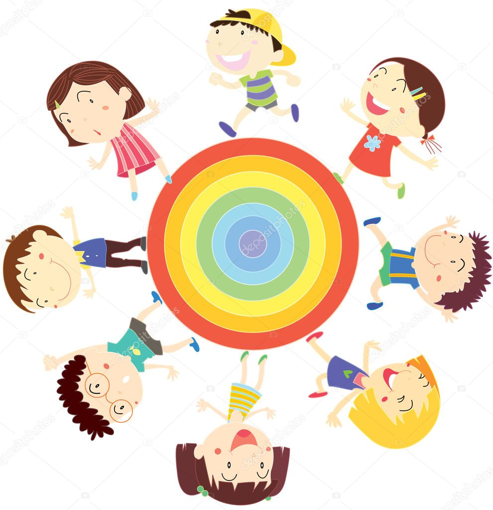 Illustration of kids on white — Stock Vector #9995969
