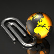 Globe and Paper Clip — Stock Photo