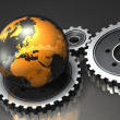 Transparent Globe and Gears - Stock Photo