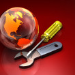 Earth with Wrench and Screwdriver - Stock Photo