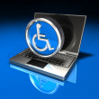 Laptop and Handicap Symbol - Stock Photo