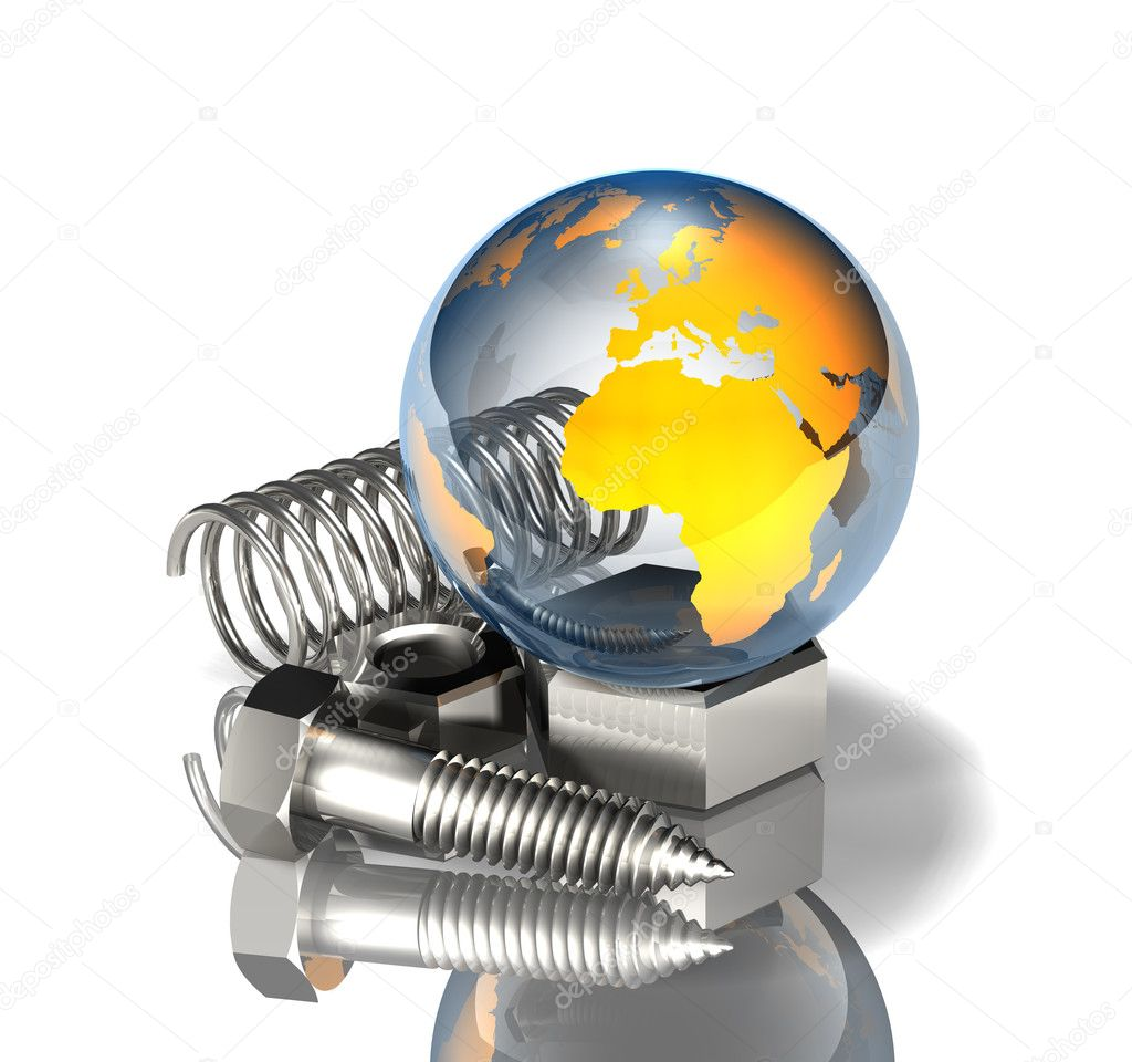 3d illustration of a glossy transparent blue and orange earth sitting on top of a pile of chrome metallic screws, nuts, bolts, and springs — Stock Photo #10056358