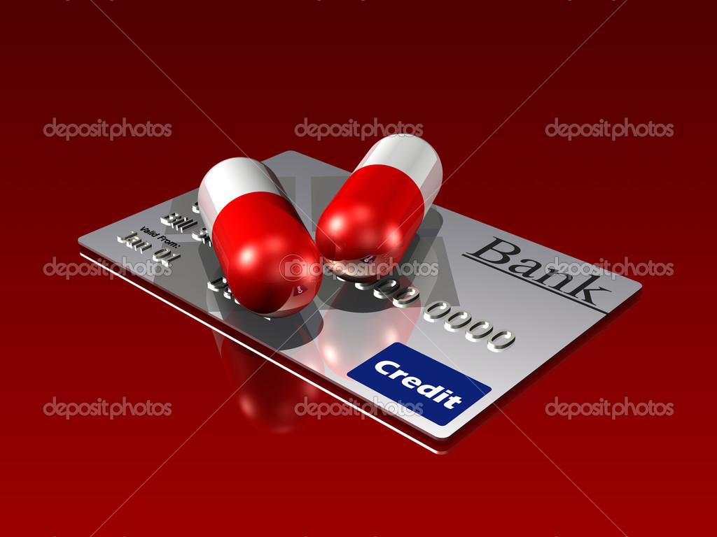 3d illustration of two large red and white medicine pill capsules sitting on top of a generic silver credit card on a reflective surface — Stock Photo #10066061