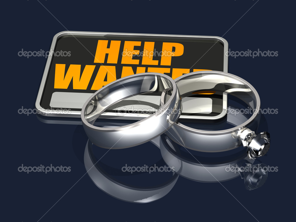 3d illustration of two silver wedding rings placed on top of a black and orange Help Wanted sign on a dark blue reflective surface — Stock Photo #10128143