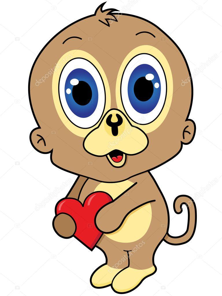 Scimmia di cartone animato — vettoriale stock