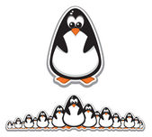 Crowd of Cute Penguins — Stock Vector