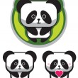 Stock Vector: Cute Romantic Panda Bear