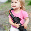 Baby girl with umbrella — Stock Photo
