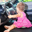 Baby driving a car — Stock fotografie