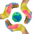 Colorful hands making a circle around earth globe — Stock Photo #10140205